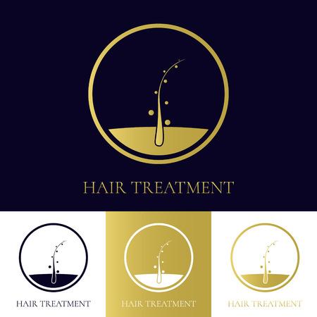 Hair treatment logo template in four colors. Hair follicle icon. Hair bulb symbol. Hair medical diagnostics sign. Hair transplant center logo. Hair loss treatment concept. Vector illustration.