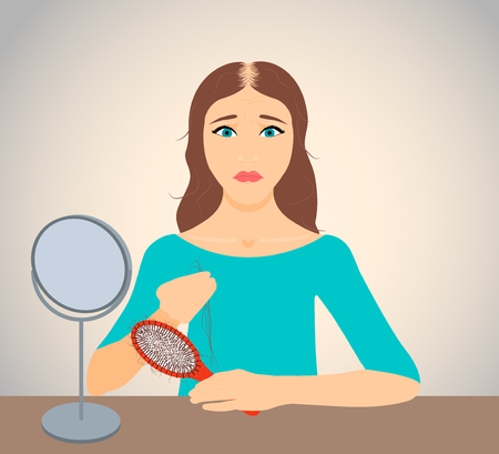 Woman with receding hair holding a clump of hair and a hairbrush in her hands. Woman losing hair. Female hair loss. Hair care concept. Hair loss clinic concept design. Isolated vector illustration.
