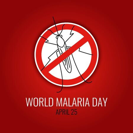 no mosquito: World Malaria Day concept with mosquito prohibition sign. No mosquito emblem. Mosquito warning. Malaria awareness sign. Malaria transmission. Malaria national solidarity day. Vector illustration.