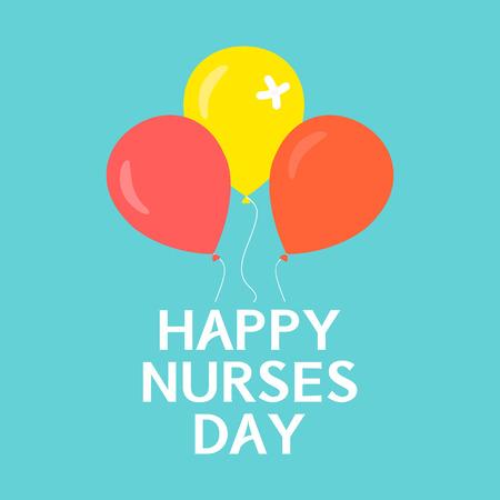 infermieri Happy manifesto giorno. infermieri simbolo internazionale giornata con palloncini su sfondo verde. Concetto medico. Illustrazione vettoriale.