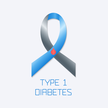 type 1 diabetes: Diabetes Type 1 awareness symbol. Blue and grey ribbon with a drop of blood on white background. Vector illustration.