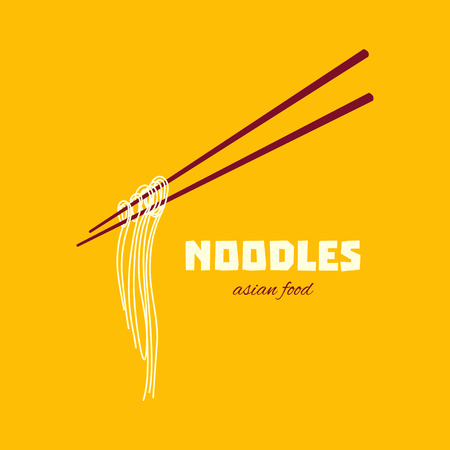 thai noodle: Chinese noodles and chopsticks poster. Chopsticks hovering in the air. Asian cuisine. Design template with place for your text.