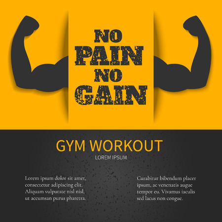 muscle gain: Gym workout design template with NO PAIN NO GAIN quote on yellow background and bicep muscle symbol. Bodybuilder arms sign. Weightlifting fitness symbol. Perfect for bodybuilding and fitness clubs.
