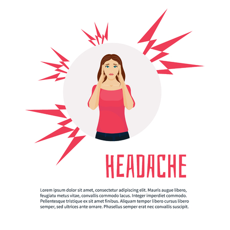 woman headache: Woman with headache squeezing her head with hands. migraine headache design template with place for text. Woman with acute pain in her head, headache relief. Healthcare and migraine concept