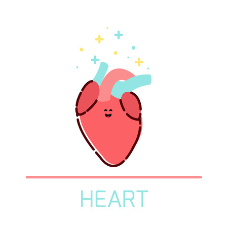 internal organ: Cute healthy heart icon made in cartoon style. Heart cartoon character. Human body organs anatomy icon. Medical human internal organ symbol. Medical concept. Vector illustration.