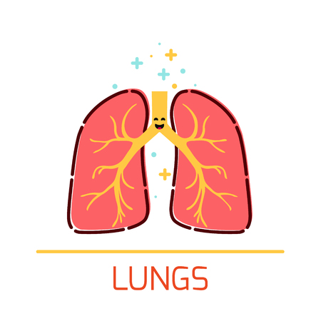 Human Lungs Cartoon Icon On A White Background Royalty Free ...
