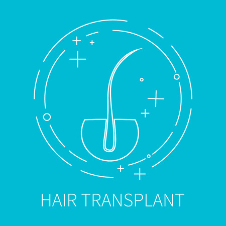 transplant: Line style template with hair follicle. Hair transplant symbol. Hair loss treatment concept. Perfect for hair clinics or medical diagnostic centers. Vector illustration.
