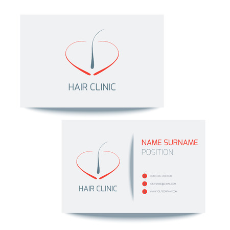 transplant: Medical business card template with hair follicle icon. Vector hair bulb graphic design for hair clinics and medical centers. Medical card corporate identity. Vector illustration. Illustration