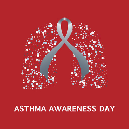 bronchial: Asthma awareness day. Asthma concept with grey ribbon and lungs icons on red background. Asthma solidarity day. Bronchial asthma symbol. Vector illustration.