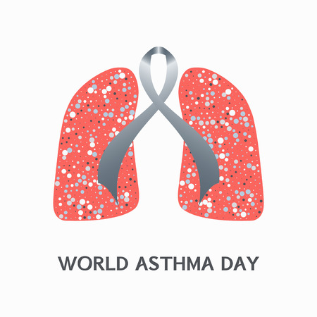 bronchial: Asthma awareness sign. Asthma concept with grey ribbon and lungs icons on white background. Bronchial asthma solidarity day. Vector illustration. Illustration