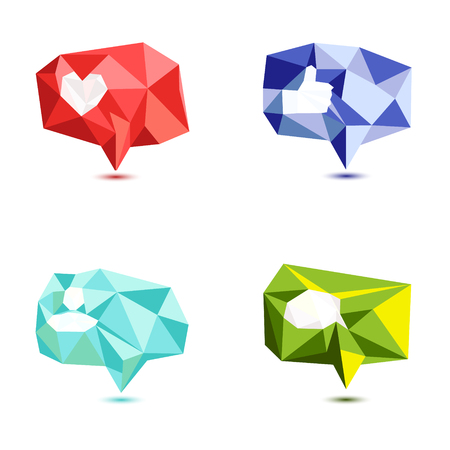 follower: Like, comment, follower icon set made in polygonal style. Thumb up icon. Social media buttons, speech bubbles on white background. Notification web or application UI symbols. Low poly vector design.