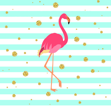 wading: Vector illustration of a pink flamingo on striped green and blue background with gold dots. Exotic bird made in flat style. Flat flamingo bird symbol. Flamingo icon. Wildlife concept.