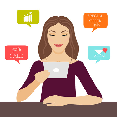 internet sale: A young woman holding a tablet pc in her hand with internet symbols: sale, special offer, love email and growing graph. Computer tablet mockup. Cloud network vector icons. Mobile applications. Illustration