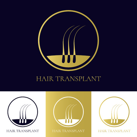 Hair transplant template with three hair bulbs in a circle. Hair loss treatment concept. Hair medical diagnostics label. Hair follicle icon. Hair bulb symbol. Vector illustration.