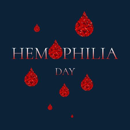hemophilia: World Hemophilia Day. Vector illustration of blood drops made of dots on blue background. Blood drop symbol. Hemophilia sign. Hemophilia awareness symbol. Stop hemophilia. Illustration