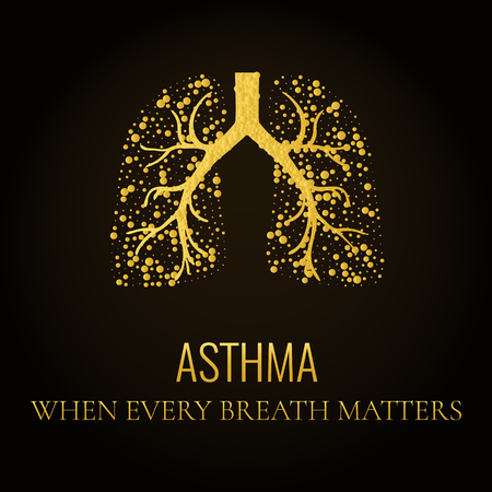 bronchial asthma: World Asthma Day. Asthma awareness poster with lungs filled with gold air bubbles on dark background. Bronchial asthma symbol. National asthma day. Asthma solidarity day.  Medical concept. Quote.