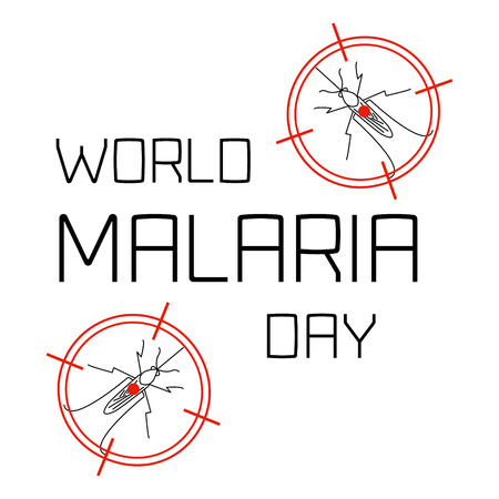 malaria: World Malaria Day concept with mosquitoes in targets. Mosquito on red target. Mosquito warning. Malaria awareness sign. Malaria transmission.  Malaria solidarity day. Vector illustration. Illustration