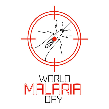 no mosquito: World Malaria Day concept with mosquito in target. Mosquito on red target. No mosquito sign. Mosquito warning. Malaria awareness sign. Malaria transmission.  Vector illustration. Illustration
