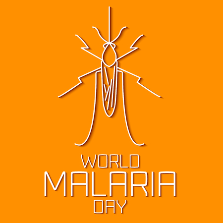 malaria: World Malaria Day concept. Mosquito line icon with shadows. Mosquito warning. Malaria awareness sign. Malaria transmission. Malaria solidarity day. Linear design. Vector illustration. Illustration