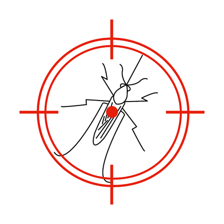 aedes: Aedes Aegypti mosquito on red target. No mosquito sign. Mosquito warning. Prohibition sign with a pest. Insect repellent emblem. Zika virus transmission. Vector illustration for your design.