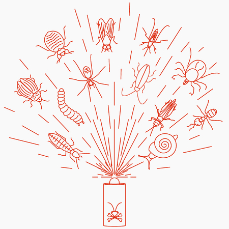 grub: Pest control line icon set with insects in the cloud of dispersed pesticide. Insecticide aerosol spray. Linear design elements for exterminator service and pest control companies.