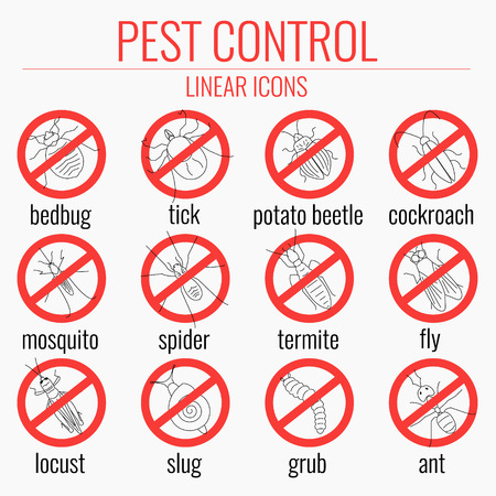 pest control equipment: Pest control line icon set with insects. No insects sign. Insects warning symbols. Prohibition icons with pests. Perfect for exterminator service and pest control companies. Vector illustration.