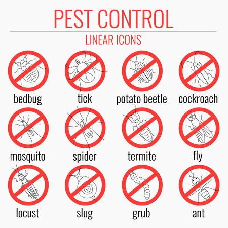 Pest linea di controllo set di icone con gli insetti. Nessun segno insetti. Insetti avvertimento simboli. Icone di divieto con i parassiti. Perfetto per le società di servizi sterminatore e di controllo dei parassiti. Illustrazione vettoriale.