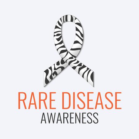 희귀 질병 인식 표지판. 얼룩말 - 흰색 배경에 리본을 인쇄합니다. 흑백 박탈 된 얼룩말 리본은 Carcinoid, Ehlers-Danlos 증후군 및 희귀 질병의 상징입니다.
