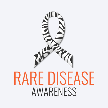 Rare disease awareness sign. Zebra-print ribbon on white background. Black and white stripped zebra ribbon is a symbol of Carcinoid, Ehlers-Danlos syndrome and rare diseases. Vector illustration. Çizim