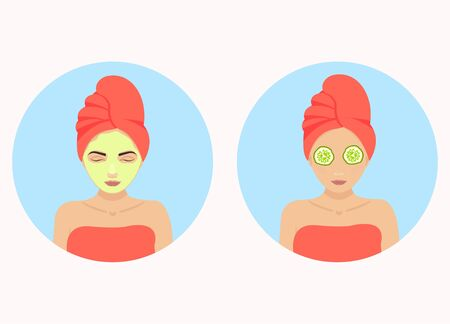 face treatment: Beautiful woman with facial mask of cucumber on her face. Beauty treatment therapy. Beauty, wellness and health concept. Vector illustration. Illustration
