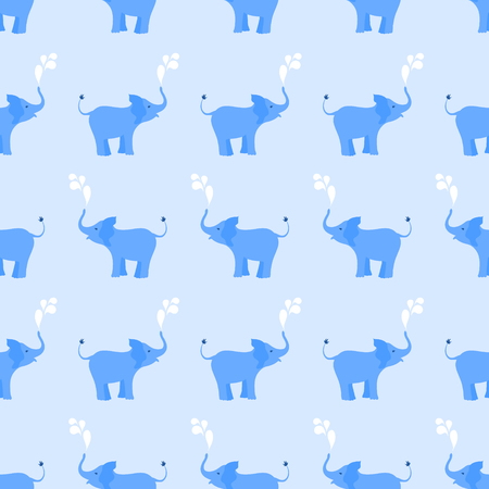 sprinkling: Seamless pattern with baby elephants spraying water drops on blue background.