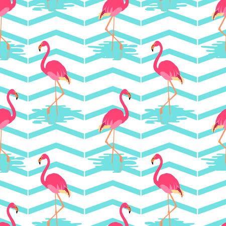 exotic birds: Flamingo summer seamless pattern on green striped background. Vector illustration of exotic birds. Flamingo bird symbol. Wildlife concept. Illustration