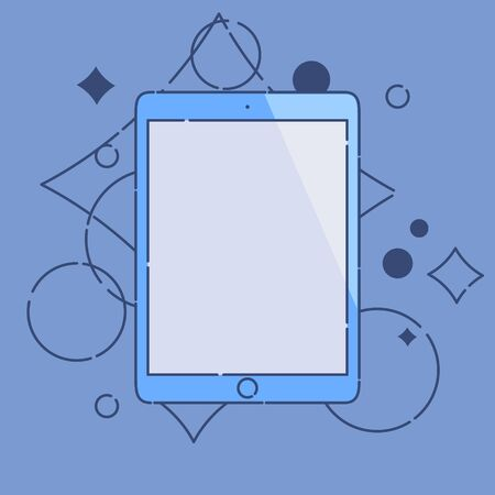 tabletpc: Computer tablet linear icon made in cartoon style on blue background. Tablet PC mock up. Perfect for application demo.  Vector illustration.
