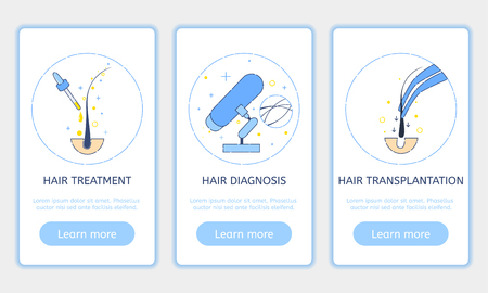 centers: Onboarding screen design template set for hair clinics and diagnostic centers. Illustration