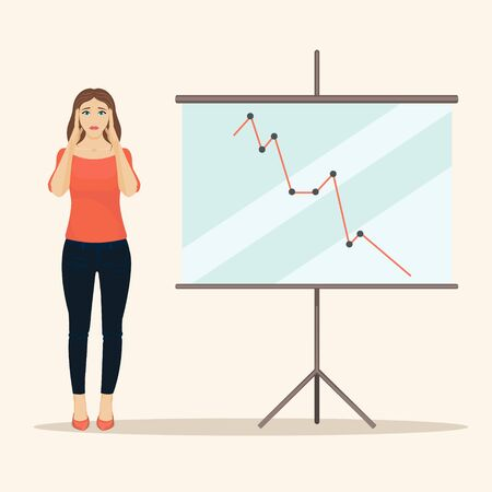 presentation screen: Sad female office worker giving presentation. Upset business woman standing next to a presentation screen with falling diagram. Illustration