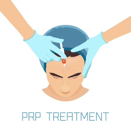 Platelet rich plasma facial injection. PRP therapy process for facelift and wrinkles. Male rejuvenation treatment infographics.