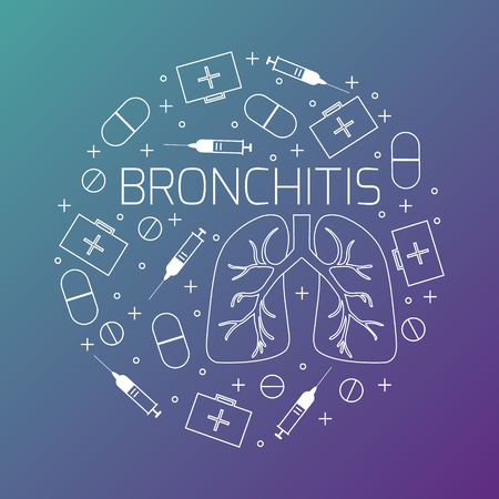 bronchitis: Bronchitis linear icon set. Bronchitis treatment symbols- pills, syringes and first aid boxes. Bronchitis awareness sign made in line style. Vector illustration.