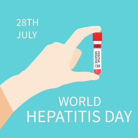 hepatitis prevention: World Hepatitis Day. Hepatitis awareness poster with hand holding a test tube on blue background. Vector illustration.