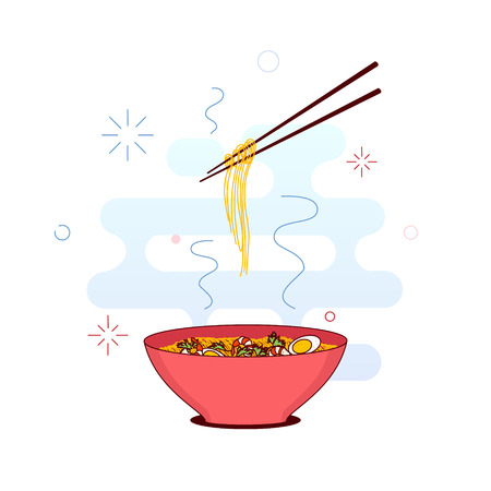 lo mein: Chinese noodles and chopsticks made in trendy line style. Bowl of noodles with shrimps, eggs and parsley. Chopsticks hovering above. South East Asian cuisine. Vector illustration.