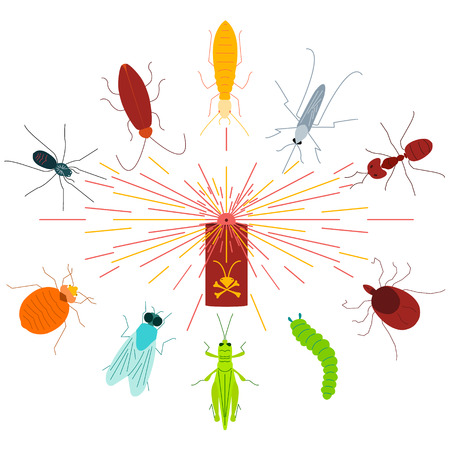 insect repellent: Pest control line icon set with insects in the cloud of dispersed pesticide. Insecticide aerosol spray. Linear design elements for exterminator service and pest control companies.