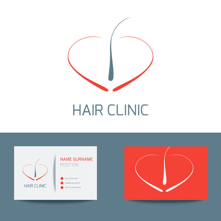 follicle: Medical business card  template with hair follicle icon. Vector hair bulb graphic design for hair clinics and medical centers. Vector illustration.