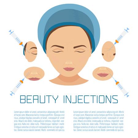 Beauté injections faciales. Anti-vieillissement processus de thérapie pour lifting et les rides. Femme infographies de traitement de rajeunissement. Vector illustration.