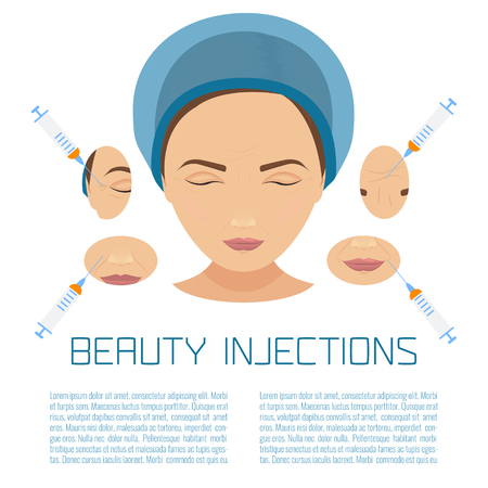 Beauty facial injections. Anti-ageing therapy process for facelift and wrinkles. Female rejuvenation treatment infographics. Vector illustration. Иллюстрация