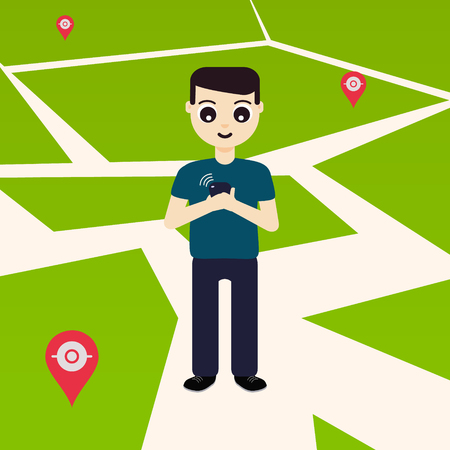 poke: Young man playing a game on his mobile phone outside. GPS navigation system with map pin-markers in the background. Concept of outdoor entertainment. Vector illustration.
