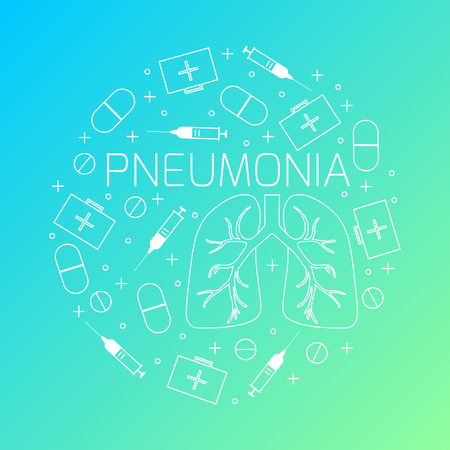 pneumonia: Pneumonia linear icon set. Pneumonia treatment symbols- pills, syringes and first aid boxes. Pneumonia awareness sign made in line style. Illustration