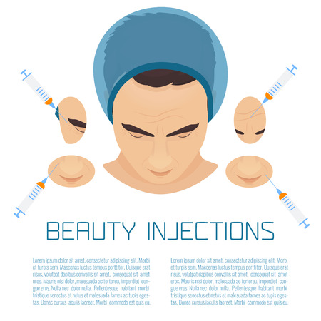 rejuvenation: Beauty facial injections for men. Anti-ageing therapy process for face lift and wrinkles. Male rejuvenation treatment info graphics. Illustration