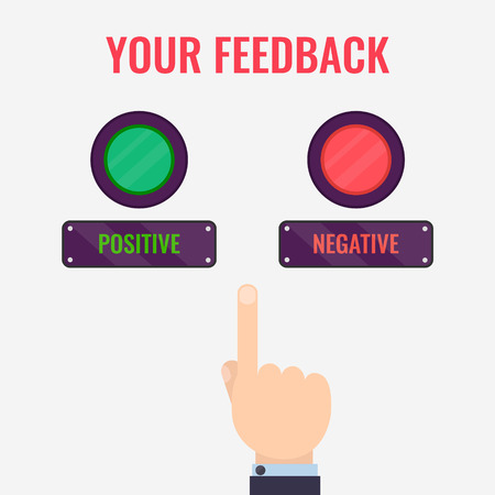 que señala la mano masculina a los botones positivos y negativos de la revisión. la retroalimentación del cliente plantilla de diseño. Valoración de símbolo evaluación. Los comentarios y concepto de realimentación.