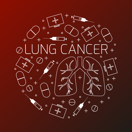 air awareness: Lung cancer linear icon set. Lung cancer  treatment symbols- pills, syringes and first aid boxes. Lung cancer awareness sign made in line style.