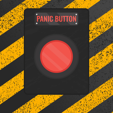 Panic button sign. illustration of a red emergency stop button on rusty yellow and black panel. Touch, push or press symbol.