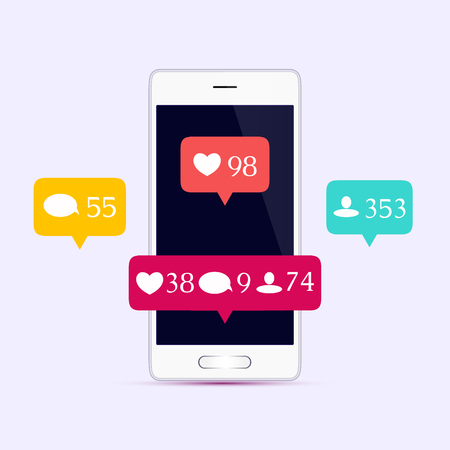 Like, comment, follower icons set. Social media buttons on smartphone display. Notification icons. Social Media Concept. Isolated illustration.